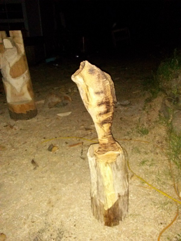 Chainsaw wood carving artist